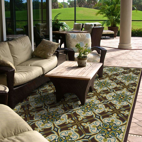 Oriental Weavers Caspian Brown Ivory Floral  Outdoor Rug