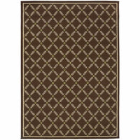 Caspian Brown Ivory Geometric Lattice Outdoor Rug - Free Shipping