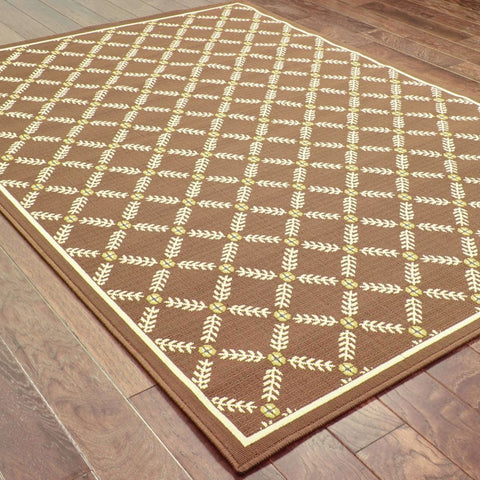 Oriental Weavers Caspian Brown Ivory Geometric Lattice Outdoor Rug