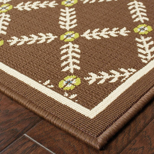 Woven - Caspian Brown Ivory Geometric Lattice Outdoor Rug