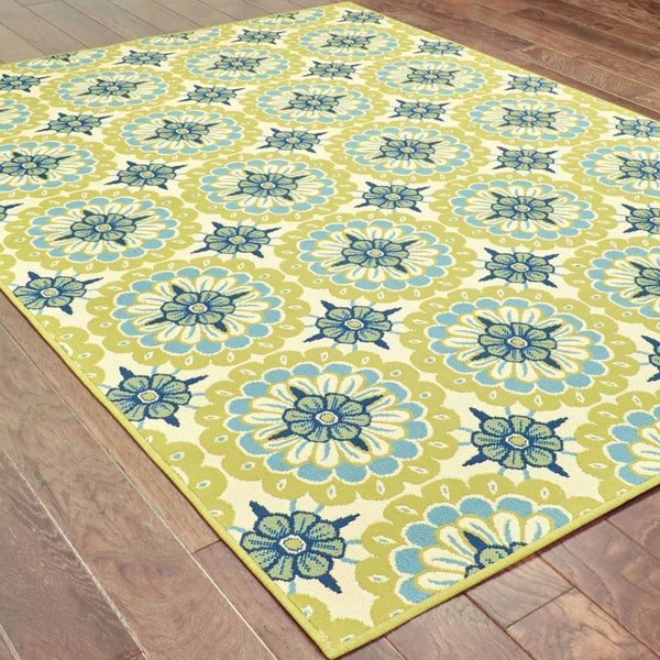 Woven - Caspian Green Ivory Floral  Outdoor Rug
