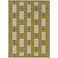 Caspian Green Ivory Geometric  Outdoor Rug - Free Shipping