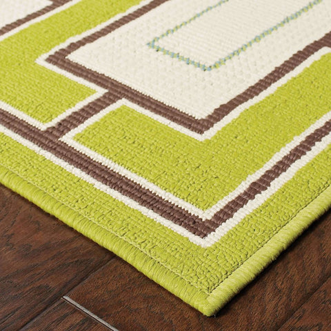 Oriental Weavers Caspian Green Ivory Geometric  Outdoor Rug