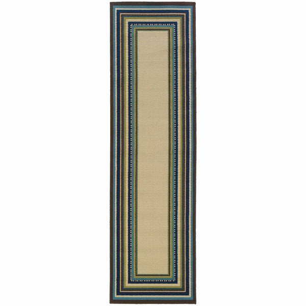 Woven - Caspian Ivory Blue Border  Outdoor Rug