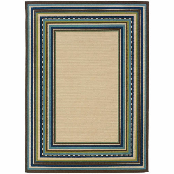 Caspian Ivory Blue Border Stripe Outdoor Rug - Free Shipping