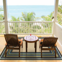Woven - Caspian Ivory Blue Border Stripe Outdoor Rug