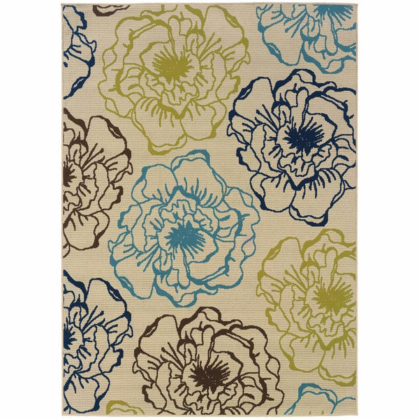 Caspian Ivory Blue Floral  Outdoor Rug - Free Shipping