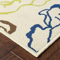 Woven - Caspian Ivory Blue Floral  Outdoor Rug