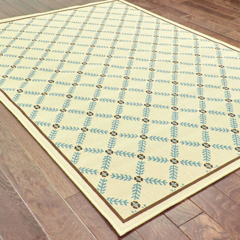 Oriental Weavers Caspian Ivory Blue Geometric Lattice Outdoor Rug