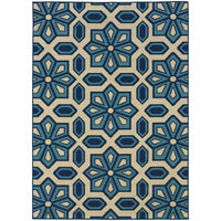 Caspian Ivory Blue Geometric Tiles Outdoor Rug - Free Shipping