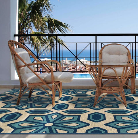 Oriental Weavers Caspian Ivory Blue Geometric Tiles Outdoor Rug