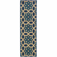 Woven - Caspian Ivory Blue Geometric Tiles Outdoor Rug