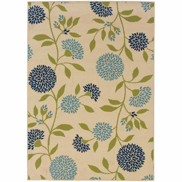 Caspian Ivory Green Floral  Outdoor Rug - Free Shipping
