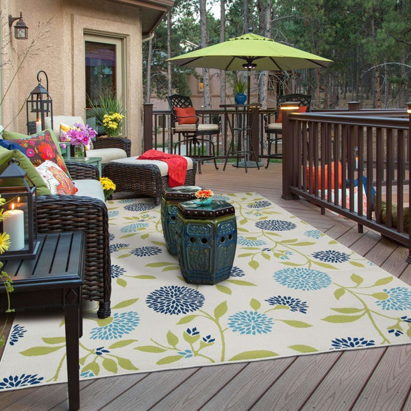 Woven - Caspian Ivory Green Floral  Outdoor Rug