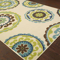 Woven - Caspian Ivory Green Medallion  Outdoor Rug