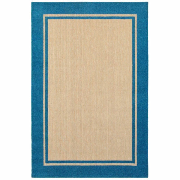 Cayman Sand Blue Border Outdoor Transitional Rug - Free Shipping