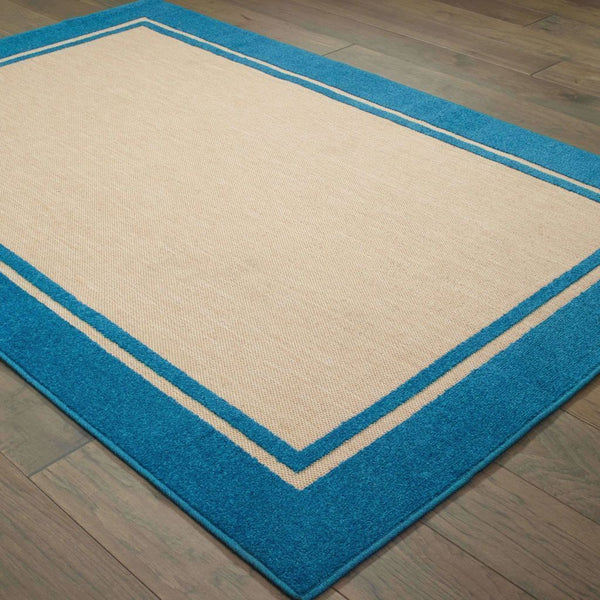 Woven - Cayman Sand Blue Border Outdoor Transitional Rug