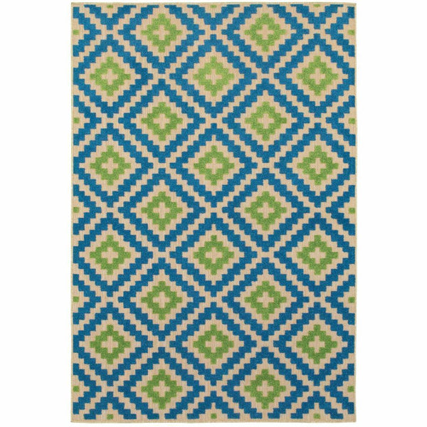 Cayman Sand Blue Geometric Lattice Transitional Rug - Free Shipping