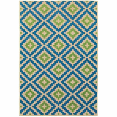 Oriental Weavers Cayman Sand Blue Geometric Lattice Transitional Rug