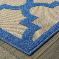 Woven - Cayman Sand Blue Geometric Lattice Transitional Rug