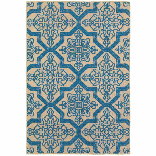 Cayman Sand Blue Geometric Medallion Transitional Rug - Free Shipping