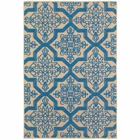 Oriental Weavers Cayman Sand Blue Geometric Medallion Transitional Rug