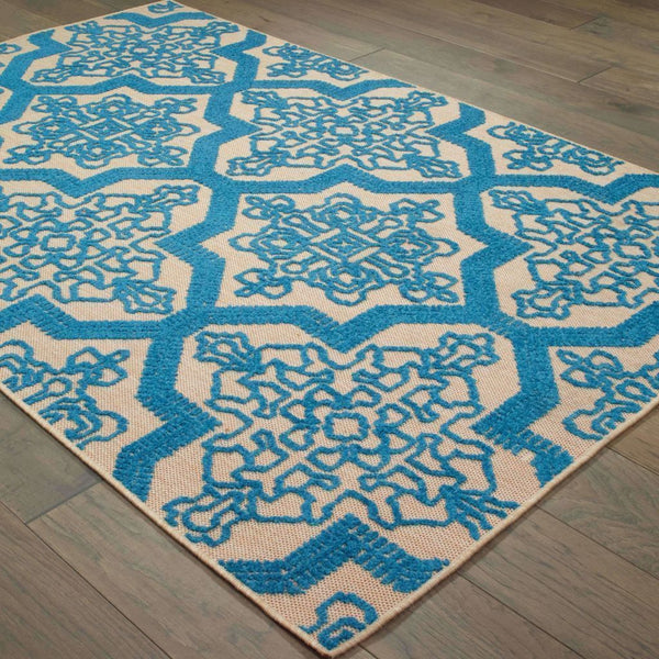 Woven - Cayman Sand Blue Geometric Medallion Transitional Rug