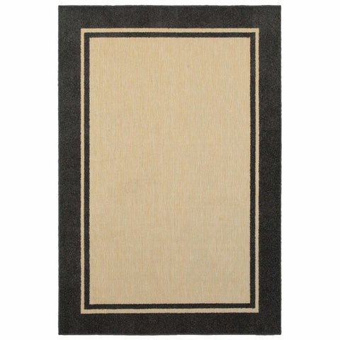 Cayman Sand Charcoal Border Outdoor Transitional Rug