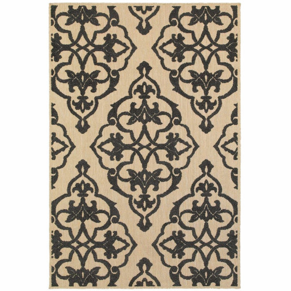 Cayman Sand Charcoal Floral Medallion Transitional Rug - Free Shipping