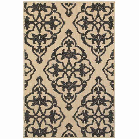 Cayman Sand Charcoal Floral Medallion Transitional Rug