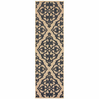 Woven - Cayman Sand Charcoal Floral Medallion Transitional Rug