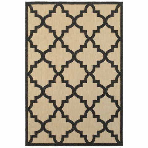 Cayman Sand Charcoal Geometric Lattice Transitional Rug
