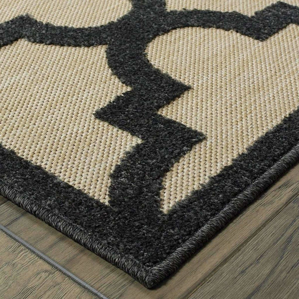 Woven - Cayman Sand Charcoal Geometric Lattice Transitional Rug