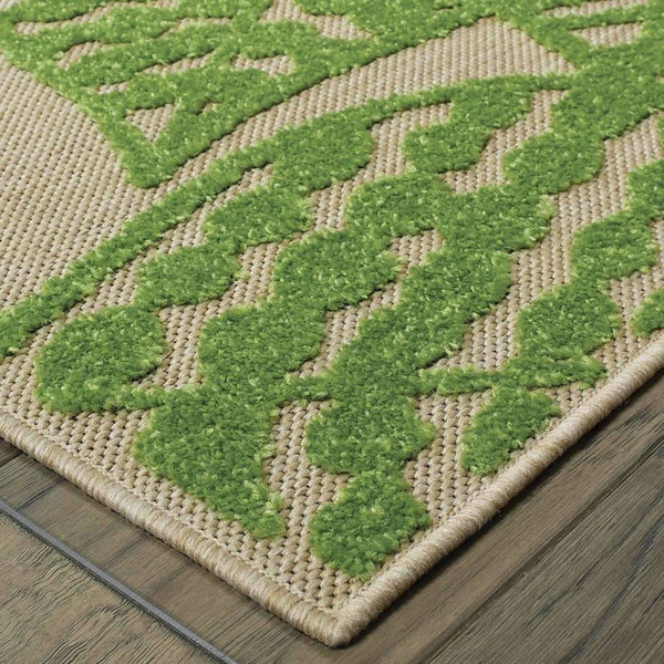 Woven - Cayman Sand Green Floral Botanical Transitional Rug