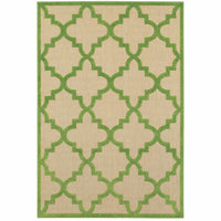 Cayman Sand Green Geometric Lattice Transitional Rug - Free Shipping
