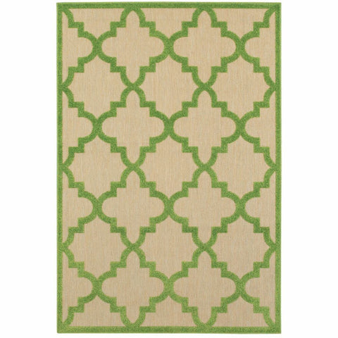 Cayman Sand Green Geometric Lattice Transitional Rug