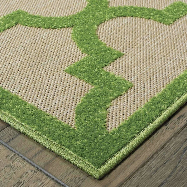 Woven - Cayman Sand Green Geometric Lattice Transitional Rug