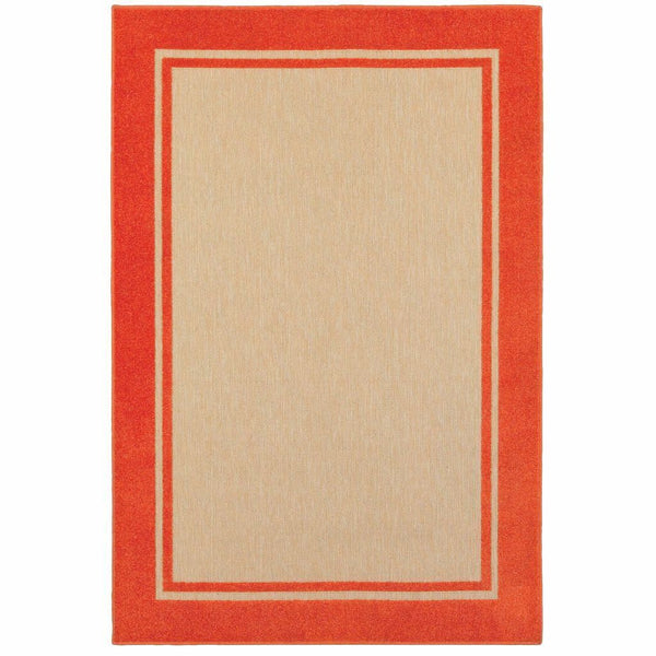 Cayman Sand Orange Border Outdoor Transitional Rug - Free Shipping