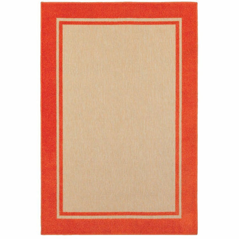Oriental Weavers Cayman Sand Orange Border Outdoor Transitional Rug