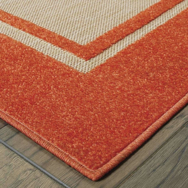Woven - Cayman Sand Orange Border Outdoor Transitional Rug