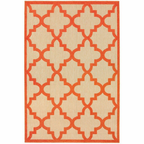 Cayman Sand Orange Geometric Lattice Transitional Rug