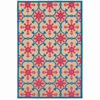 Cayman Sand Pink Floral Medallion Transitional Rug - Free Shipping