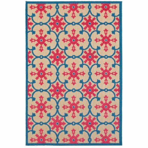 Oriental Weavers Cayman Sand Pink Floral Medallion Transitional Rug