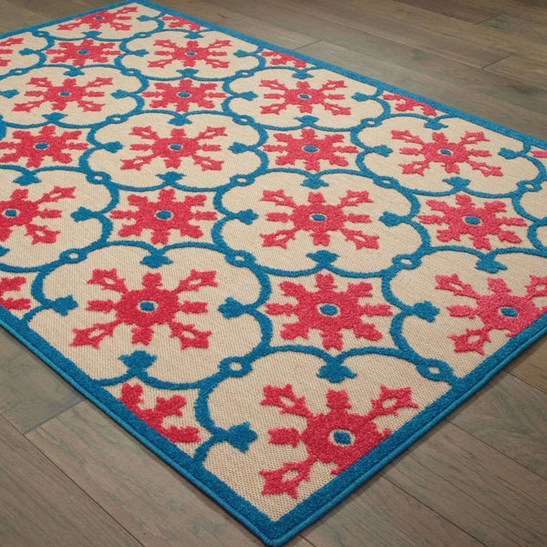 Woven - Cayman Sand Pink Floral Medallion Transitional Rug