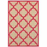 Cayman Sand Pink Geometric Lattice Transitional Rug - Free Shipping