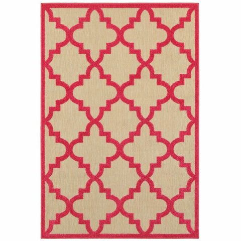 Oriental Weavers Cayman Sand Pink Geometric Lattice Transitional Rug