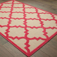 Woven - Cayman Sand Pink Geometric Lattice Transitional Rug