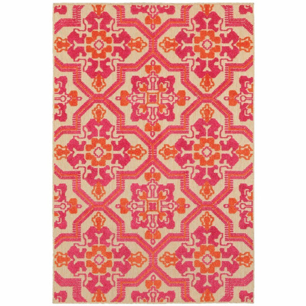 Cayman Sand Pink Geometric Medallion Transitional Rug - Free Shipping