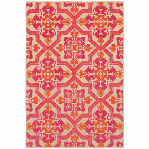 Oriental Weavers Cayman Sand Pink Geometric Medallion Transitional Rug