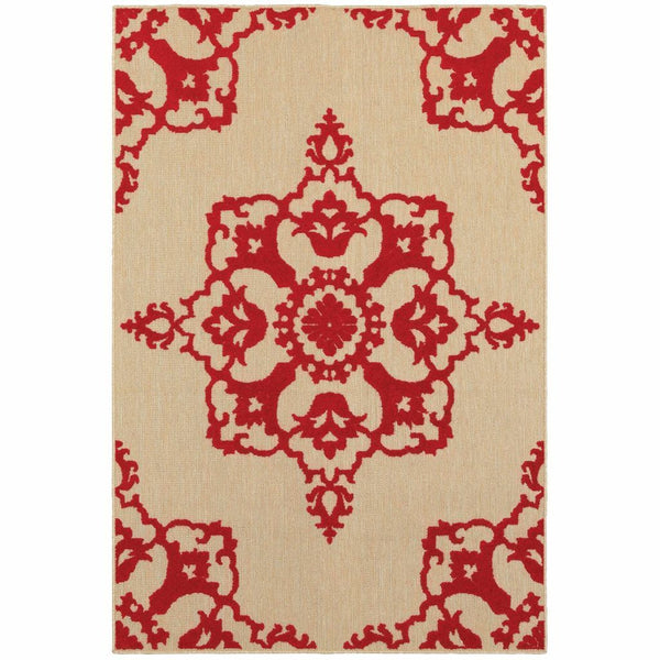 Cayman Sand Red Floral Medallion Transitional Rug - Free Shipping